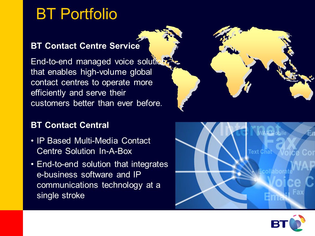 BT Portfolio BT Contact Central IP Based Multi-Media Contact Centre Solution In-A-Box End-to-end solution that integrates e-business software and IP communications technology at a single stroke BT Contact Centre Service End-to-end managed voice solution that enables high-volume global contact centres to operate more efficiently and serve their customers better than ever before.