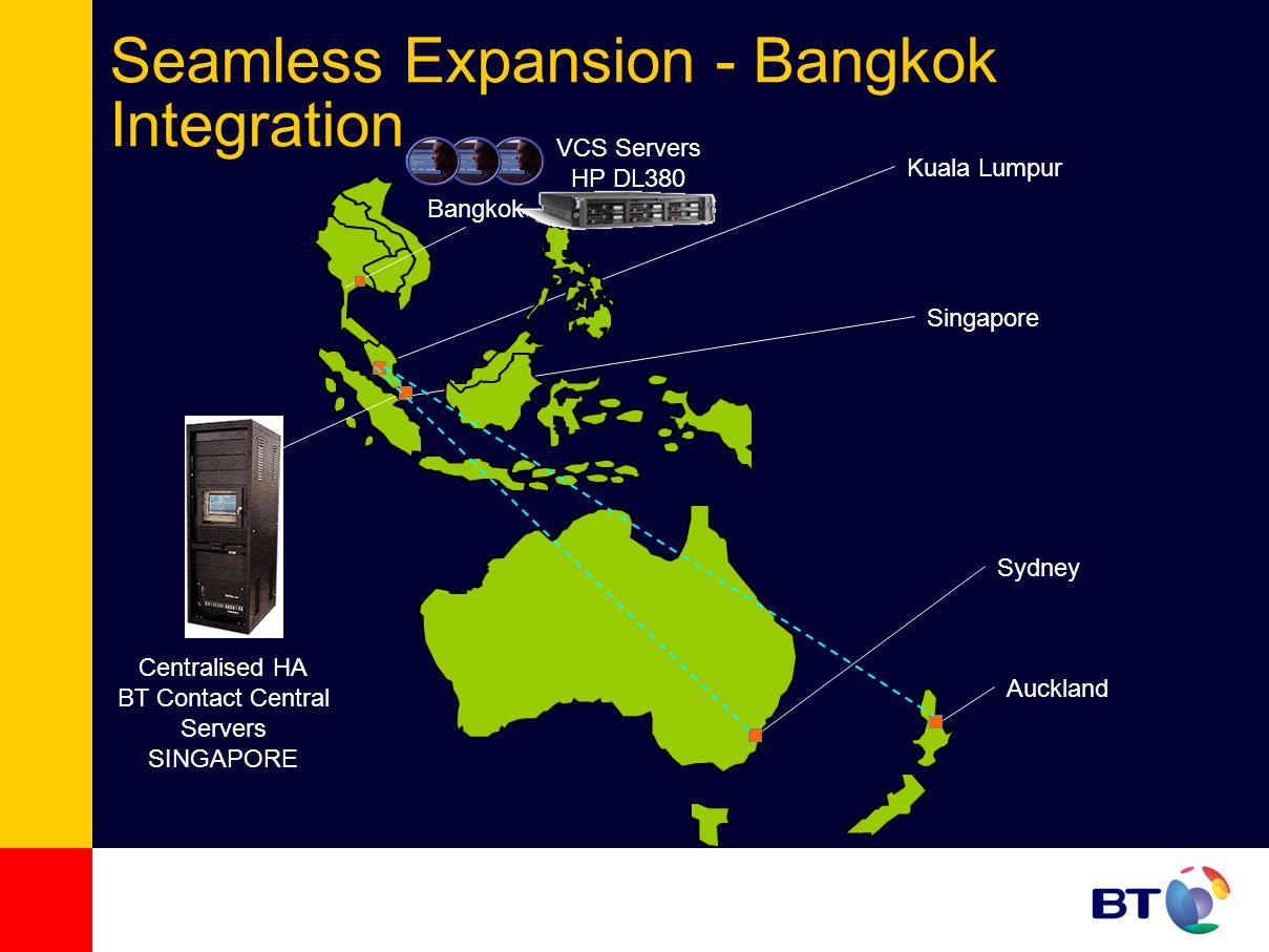 Seamless Expansion - Bangkok Integration Auckland Sydney Kuala Lumpur Singapore Centralised HA BT Contact Central Servers SINGAPORE Bangkok VCS Servers HP DL380