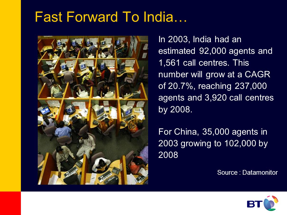 Fast Forward To India… In 2003, India had an estimated 92,000 agents and 1,561 call centres. This number will grow at a CAGR of 20.7%, reaching 237,00