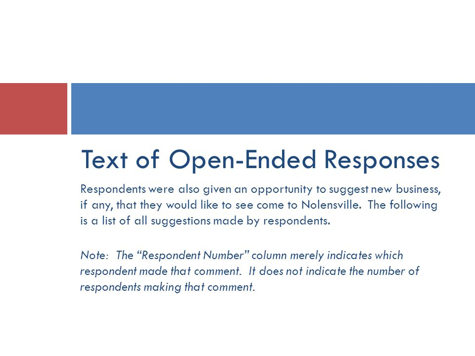 Text of Open-Ended Responses Respondents were also given an opportunity to suggest new business, if any, that they would like to see come to Nolensville.