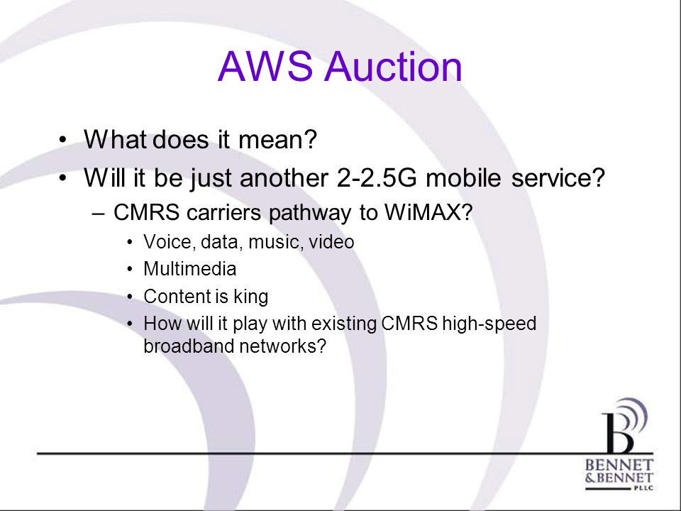 AWS Auction What does it mean. Will it be just another 2-2.5G mobile service.