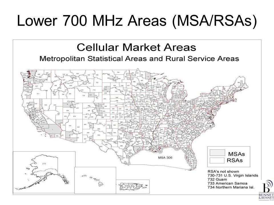 Lower 700 MHz Areas (MSA/RSAs)
