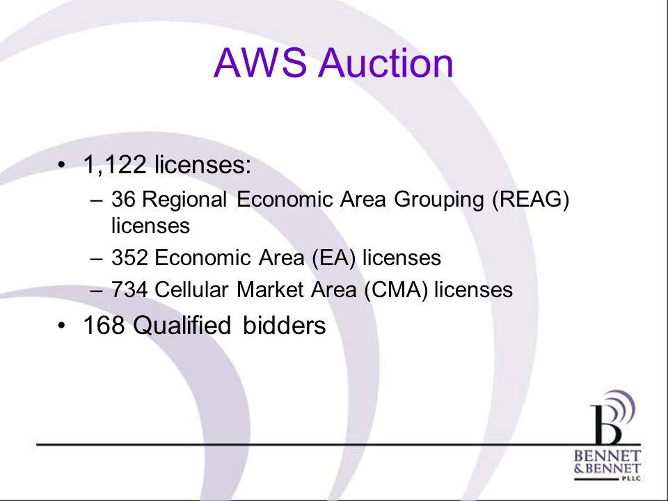 AWS Auction 1,122 licenses: –36 Regional Economic Area Grouping (REAG) licenses –352 Economic Area (EA) licenses –734 Cellular Market Area (CMA) licenses 168 Qualified bidders