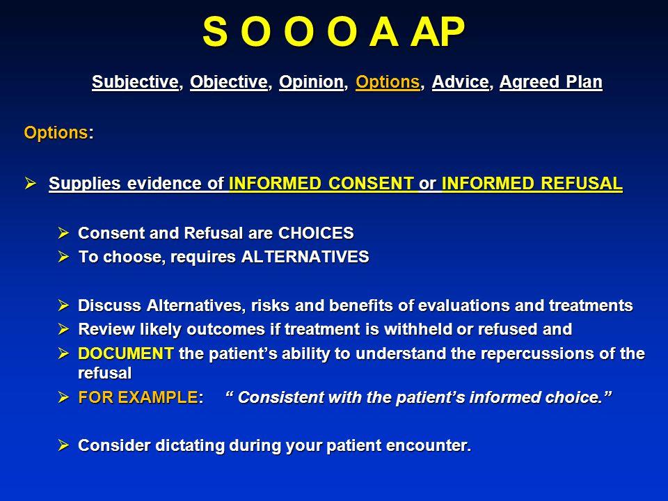 S O O O A AP Subjective, Objective, Opinion, Options, Advice, Agreed Plan Subjective, Objective, Opinion, Options, Advice, Agreed Plan Options: Suppli