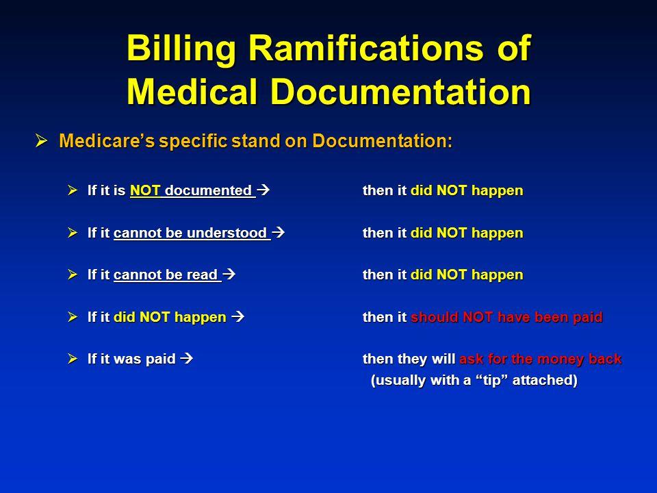 Billing Ramifications of Medical Documentation Medicares specific stand on Documentation: Medicares specific stand on Documentation: If it is NOT docu