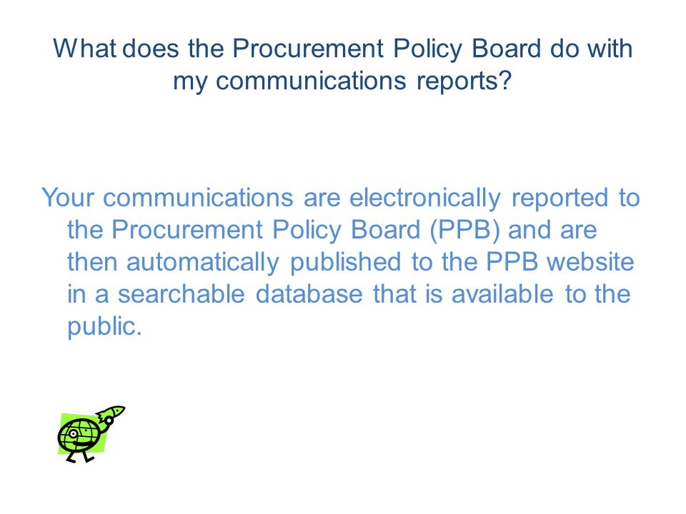 What does the Procurement Policy Board do with my communications reports.