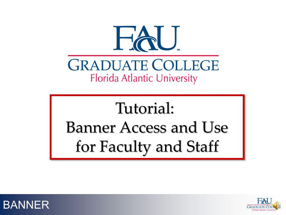 BANNER 1 Tutorial: Banner Access and Use for Faculty and Staff Tutorial: Banner Access and Use for Faculty and Staff