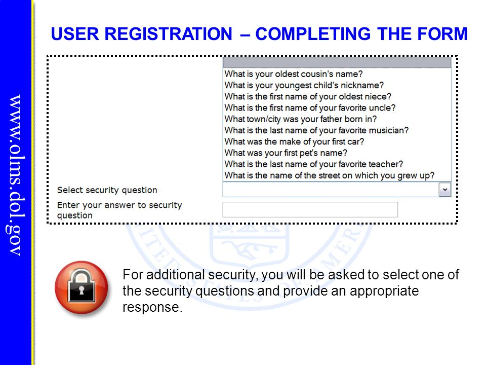 USER REGISTRATION – COMPLETING THE FORM For additional security, you will be asked to select one of the security questions and provide an appropriate