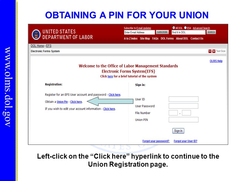 OBTAINING A PIN FOR YOUR UNION Left-click on the Click here hyperlink to continue to the Union Registration page. www.olms.dol.gov