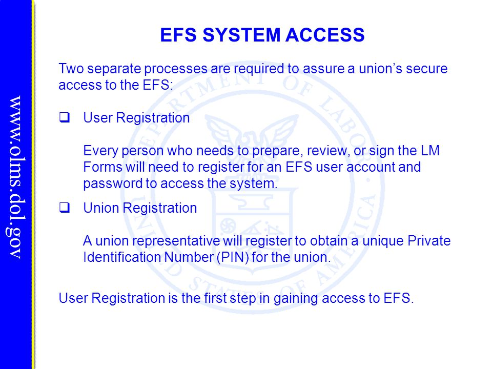 EFS SYSTEM ACCESS User Registration Every person who needs to prepare, review, or sign the LM Forms will need to register for an EFS user account and