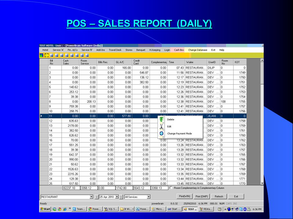 POS – SALES REPORT (DAILY)