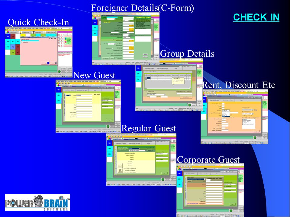 CHECK IN Quick Check-In New Guest Regular Guest Corporate Guest Foreigner Details(C-Form) Group Details Rent, Discount Etc