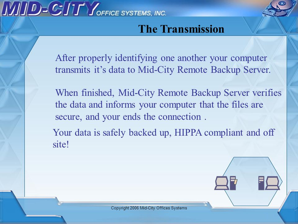 Copyright 2006 Mid-City Offices Systems After properly identifying one another your computer transmits its data to Mid-City Remote Backup Server. The