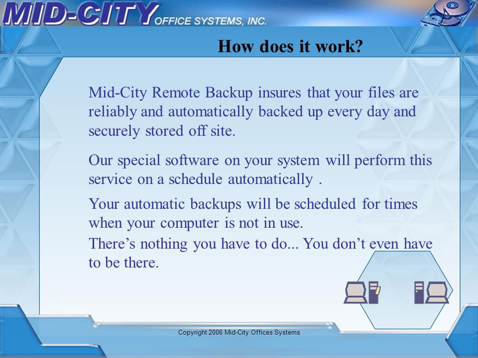 Copyright 2006 Mid-City Offices Systems Compress the data you selected for backup into a securely encrypted format that only you can read.