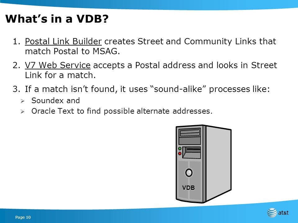 Page 10 Whats in a VDB.