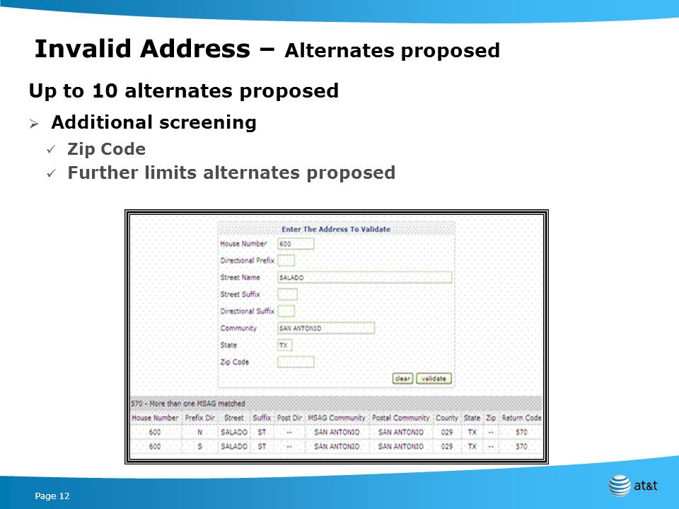 Page 12 Invalid Address – Alternates proposed Up to 10 alternates proposed Additional screening Zip Code Further limits alternates proposed