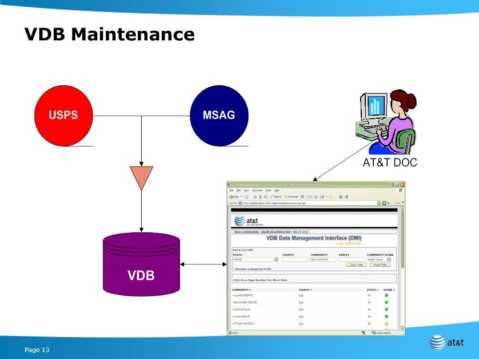 Page 13 VDB Maintenance