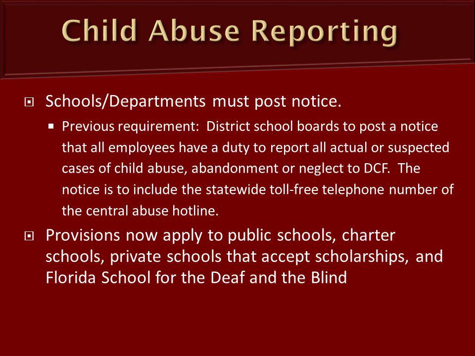 Schools/Departments must post notice.