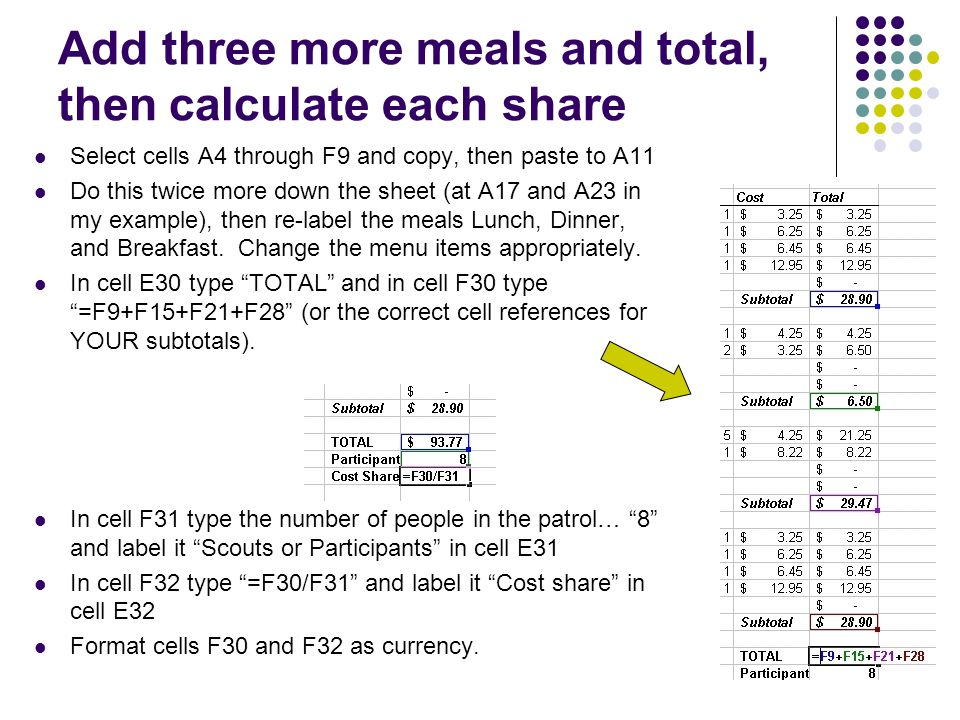 13 Add three more meals and total, then calculate each share Select cells A4 through F9 and copy, then paste to A11 Do this twice more down the sheet (at A17 and A23 in my example), then re-label the meals Lunch, Dinner, and Breakfast.