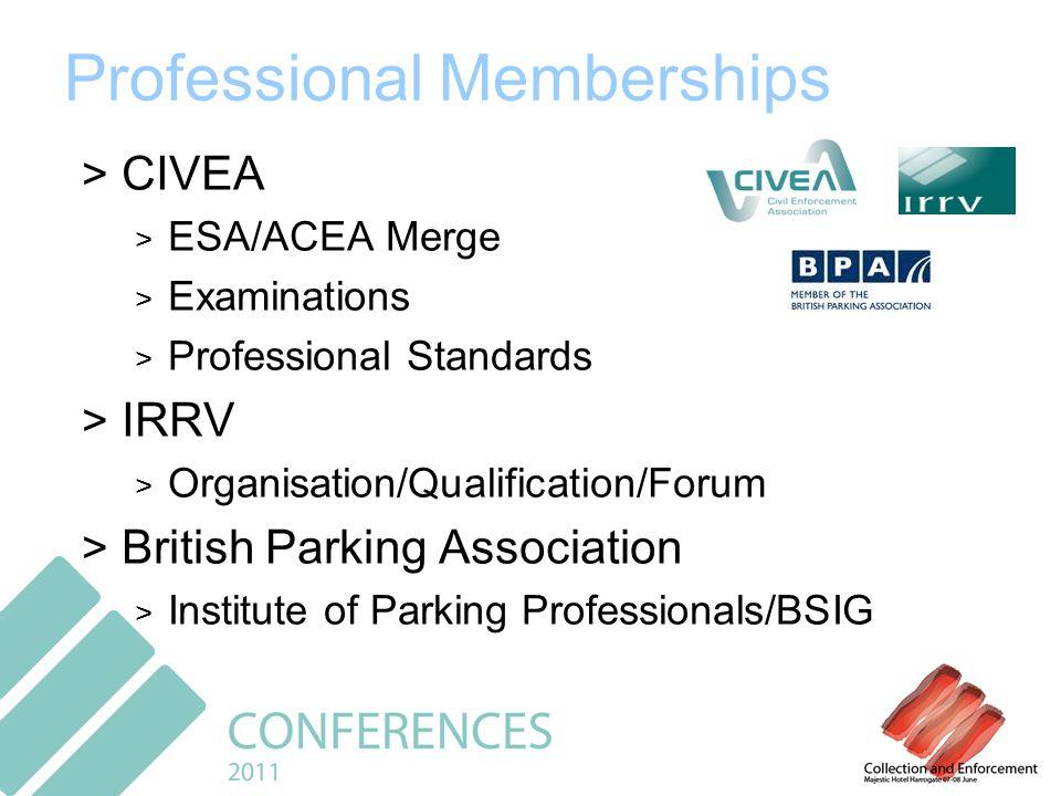Professional Memberships > CIVEA > ESA/ACEA Merge > Examinations > Professional Standards > IRRV > Organisation/Qualification/Forum > British Parking