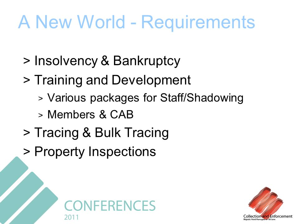 A New World - Requirements > Insolvency & Bankruptcy > Training and Development > Various packages for Staff/Shadowing > Members & CAB > Tracing & Bulk Tracing > Property Inspections