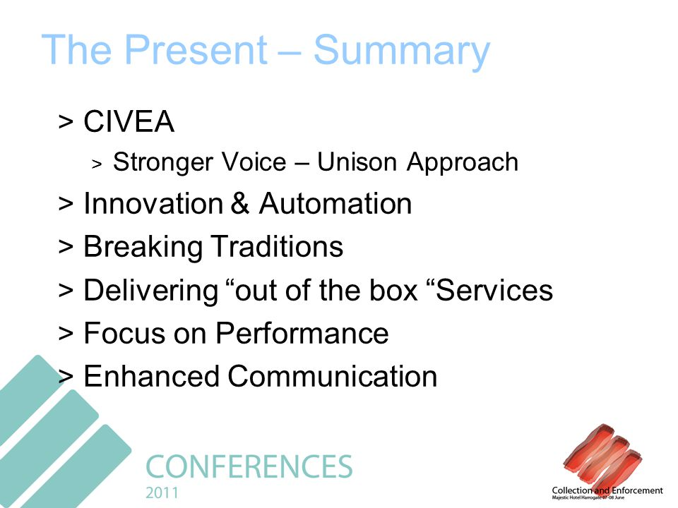 The Present – Summary > CIVEA > Stronger Voice – Unison Approach > Innovation & Automation > Breaking Traditions > Delivering out of the box Services > Focus on Performance > Enhanced Communication
