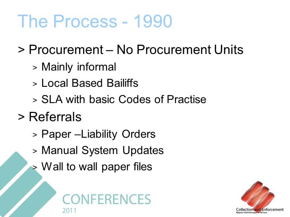 The Process - 1990 > Procurement – No Procurement Units > Mainly informal > Local Based Bailiffs > SLA with basic Codes of Practise > Referrals > Paper –Liability Orders > Manual System Updates > Wall to wall paper files