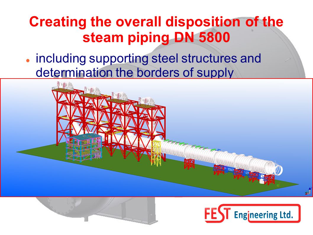 Creating the overall disposition of the steam piping DN 5800 including supporting steel structures and determination the borders of supply