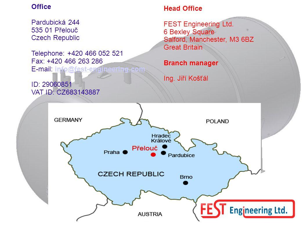 Office Pardubická 244 535 01 Přelouč Czech Republic Telephone: +420 466 052 521 Fax: +420 466 263 286 E-mail: info@fest-engineering.cominfo@fest-engineering.com ID: 29060851 VAT ID: CZ683143887 Head Office FEST Engineering Ltd.