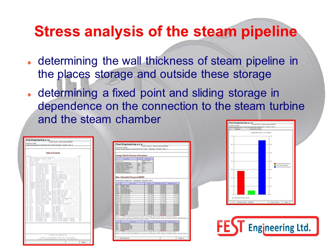 Stress analysis of the steam pipeline determining the wall thickness of steam pipeline in the places storage and outside these storage determining a fixed point and sliding storage in dependence on the connection to the steam turbine and the steam chamber