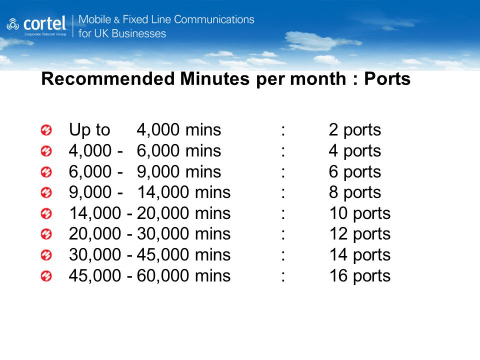 Recommended Minutes per month : Ports Up to4,000 mins:2 ports 4,000 -6,000 mins:4 ports 6,000 -9,000 mins:6 ports 9,000 -14,000 mins:8 ports 14,000 -2