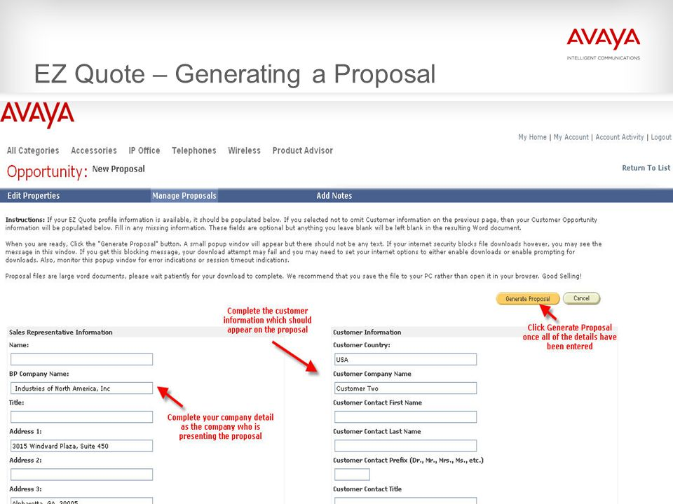 © 2009 Avaya Inc. All rights reserved. EZ Quote – Generating a Proposal