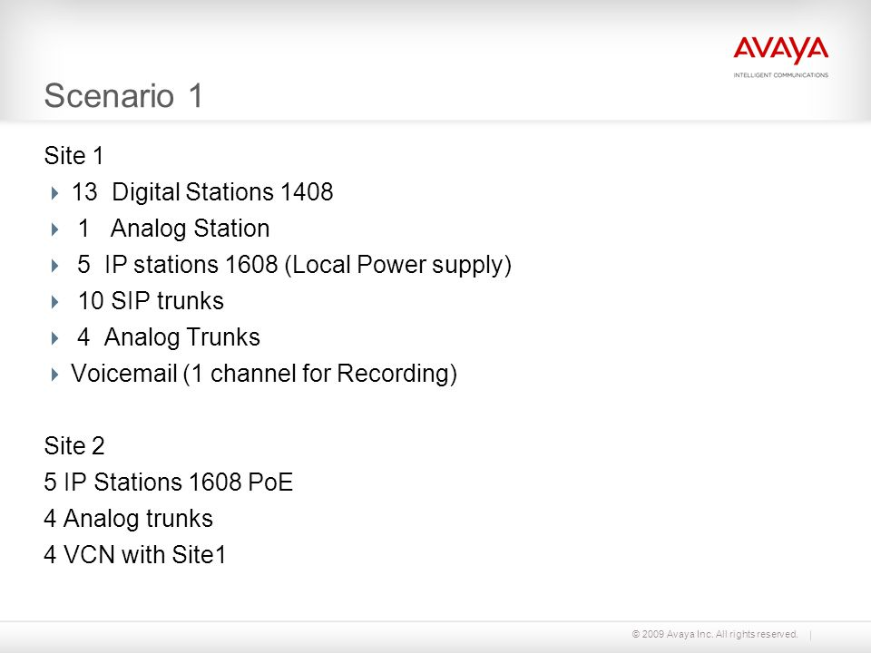 © 2009 Avaya Inc. All rights reserved. Scenario 1 Site 1 13 Digital Stations 1408 1 Analog Station 5 IP stations 1608 (Local Power supply) 10 SIP trun