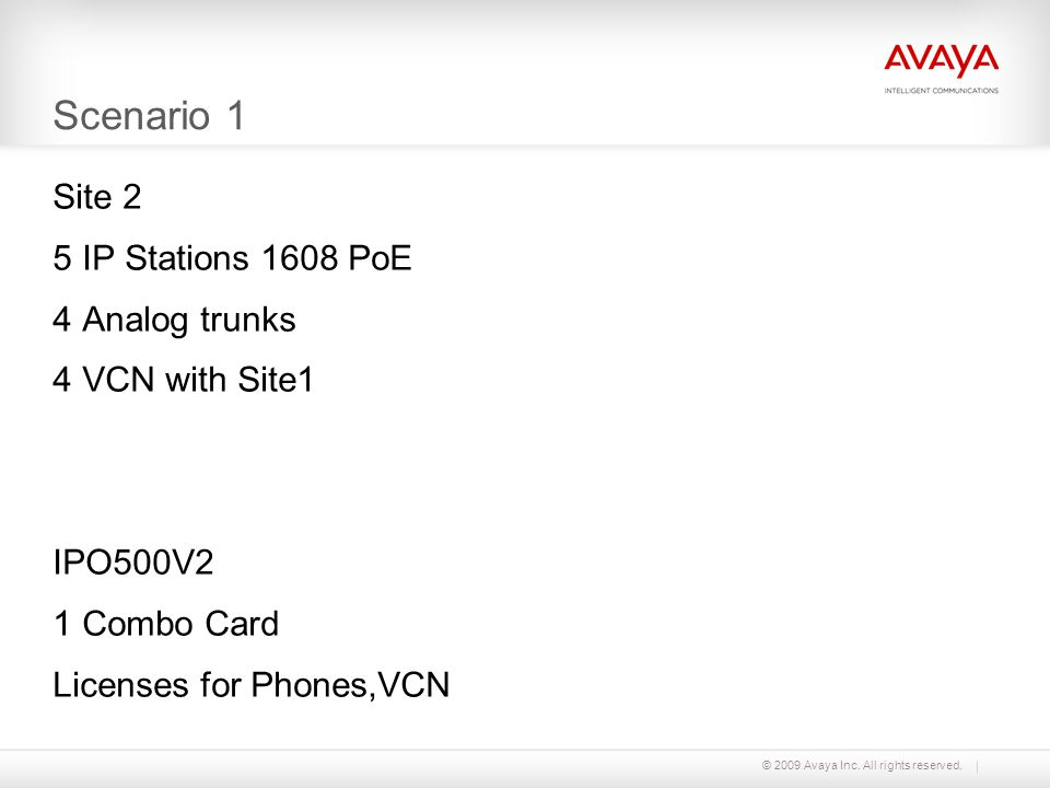 © 2009 Avaya Inc. All rights reserved. Scenario 1 Site 2 5 IP Stations 1608 PoE 4 Analog trunks 4 VCN with Site1 IPO500V2 1 Combo Card Licenses for Ph