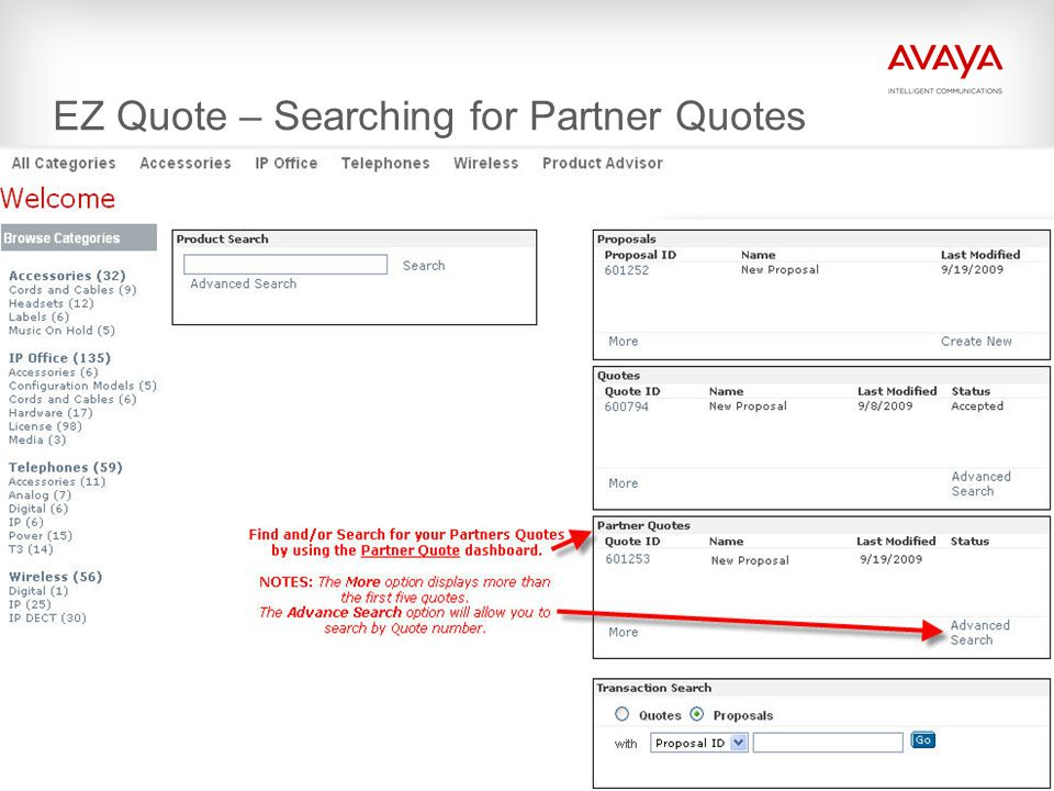 © 2009 Avaya Inc. All rights reserved. EZ Quote – Searching for Partner Quotes