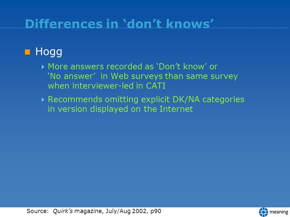 Differences in dont knows Hogg More answers recorded as Dont know or No answer in Web surveys than same survey when interviewer-led in CATI Recommends