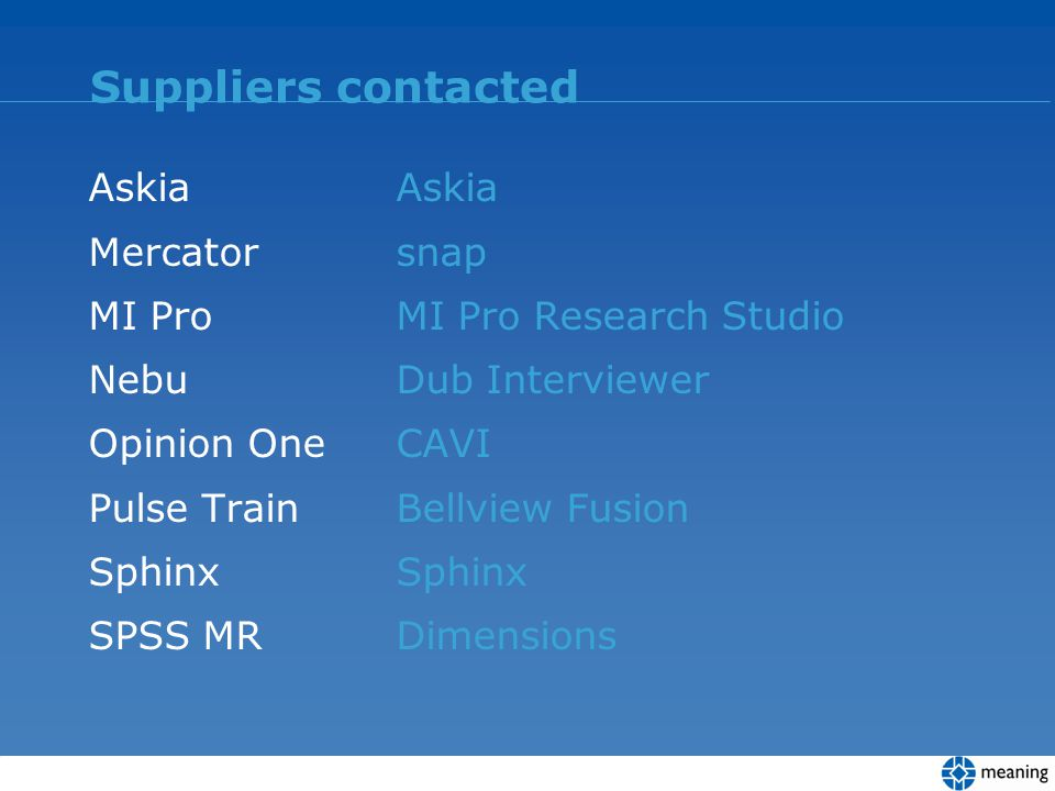 Suppliers contacted Askia Mercatorsnap MI ProMI Pro Research Studio NebuDub Interviewer Opinion OneCAVI Pulse TrainBellview FusionSphinx SPSS MRDimens