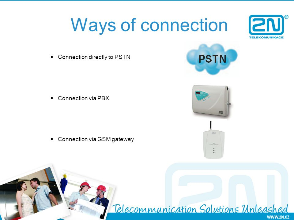 Ways of connection Connection directly to PSTN Connection via PBX Connection via GSM gateway