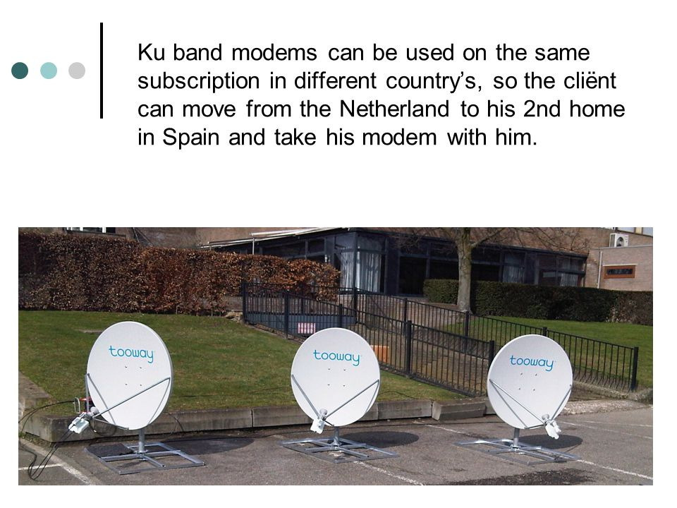 Ku band modems can be used on the same subscription in different countrys, so the cliënt can move from the Netherland to his 2nd home in Spain and take his modem with him.