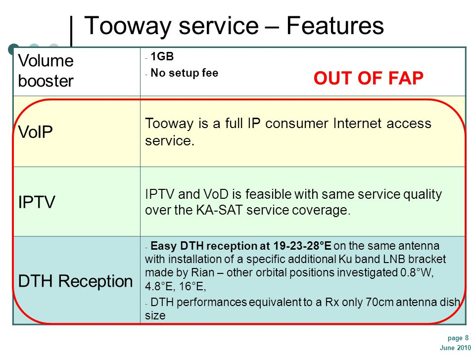 June 2010 page 8 Tooway service – Features Volume booster - 1GB - No setup fee VoIP Tooway is a full IP consumer Internet access service. IPTV IPTV an