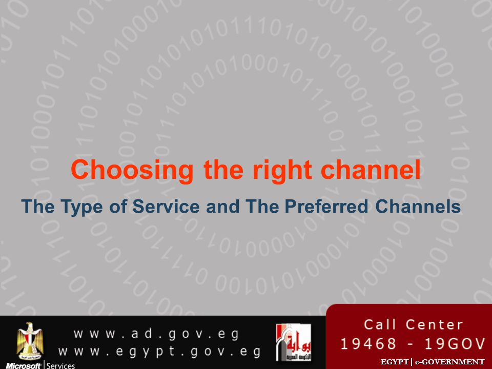 EGYPT | e-GOVERNMENT Choosing the right channel The Type of Service and The Preferred Channels