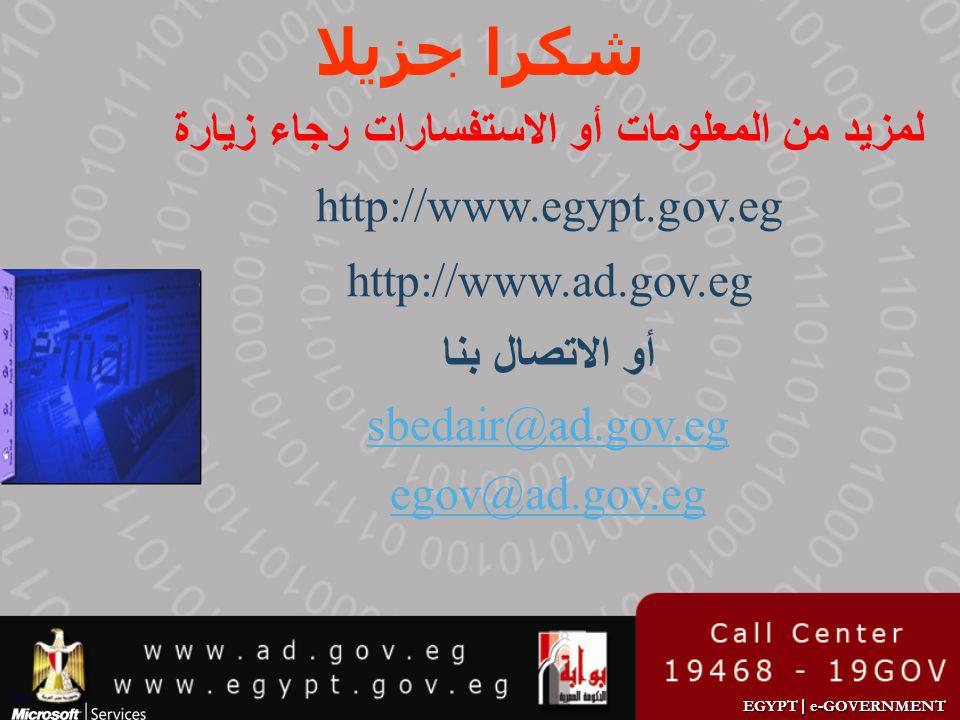 EGYPT | e-GOVERNMENT شكرا جزيلا لمزيد من المعلومات أو الاستفسارات رجاء زيارة http://www.egypt.gov.eg http://www.ad.gov.eg أو الاتصال بنا sbedair@ad.go