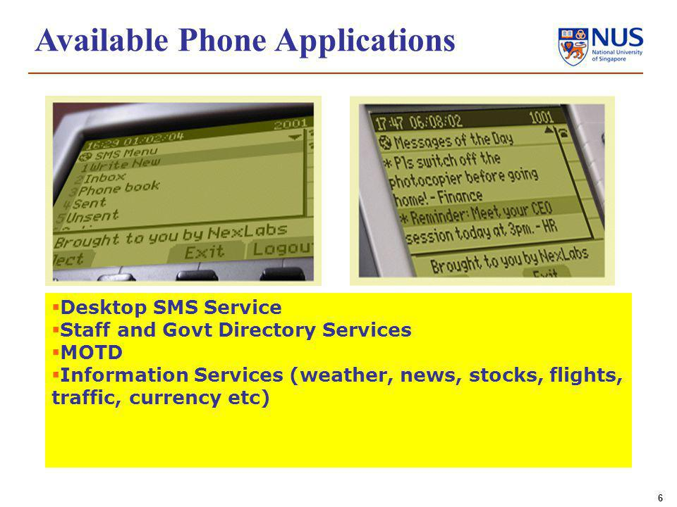 6 Desktop SMS Service Staff and Govt Directory Services MOTD Information Services (weather, news, stocks, flights, traffic, currency etc) Available Phone Applications