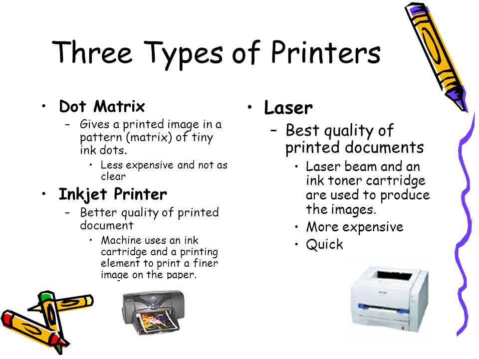 Three Types of Printers Dot Matrix –Gives a printed image in a pattern (matrix) of tiny ink dots. Less expensive and not as clear Inkjet Printer –Bett