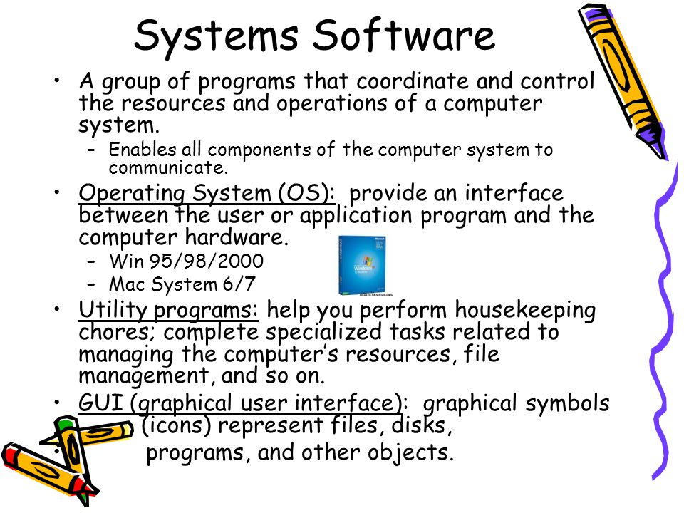 Systems Software A group of programs that coordinate and control the resources and operations of a computer system. –Enables all components of the com