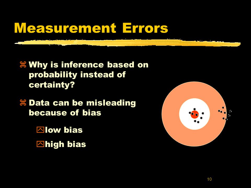 10 Measurement Errors zWhy is inference based on probability instead of certainty.