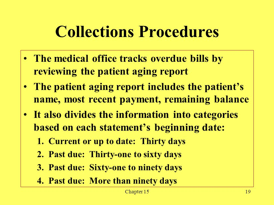 Chapter 1519 Collections Procedures The medical office tracks overdue bills by reviewing the patient aging report The patient aging report includes th