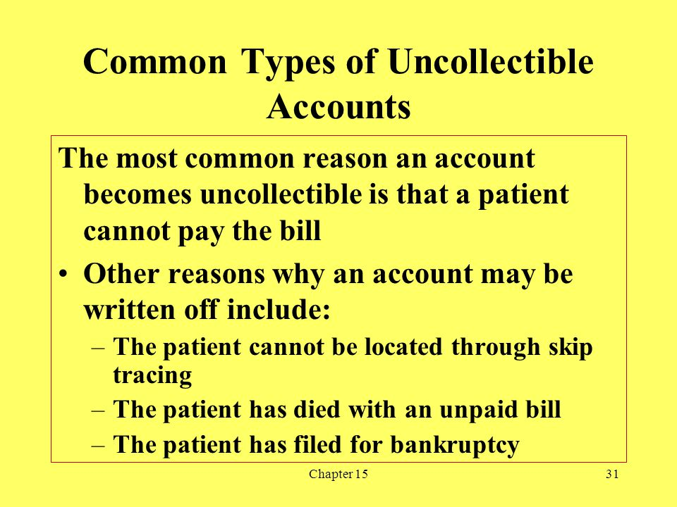 Chapter 1531 Common Types of Uncollectible Accounts The most common reason an account becomes uncollectible is that a patient cannot pay the bill Othe