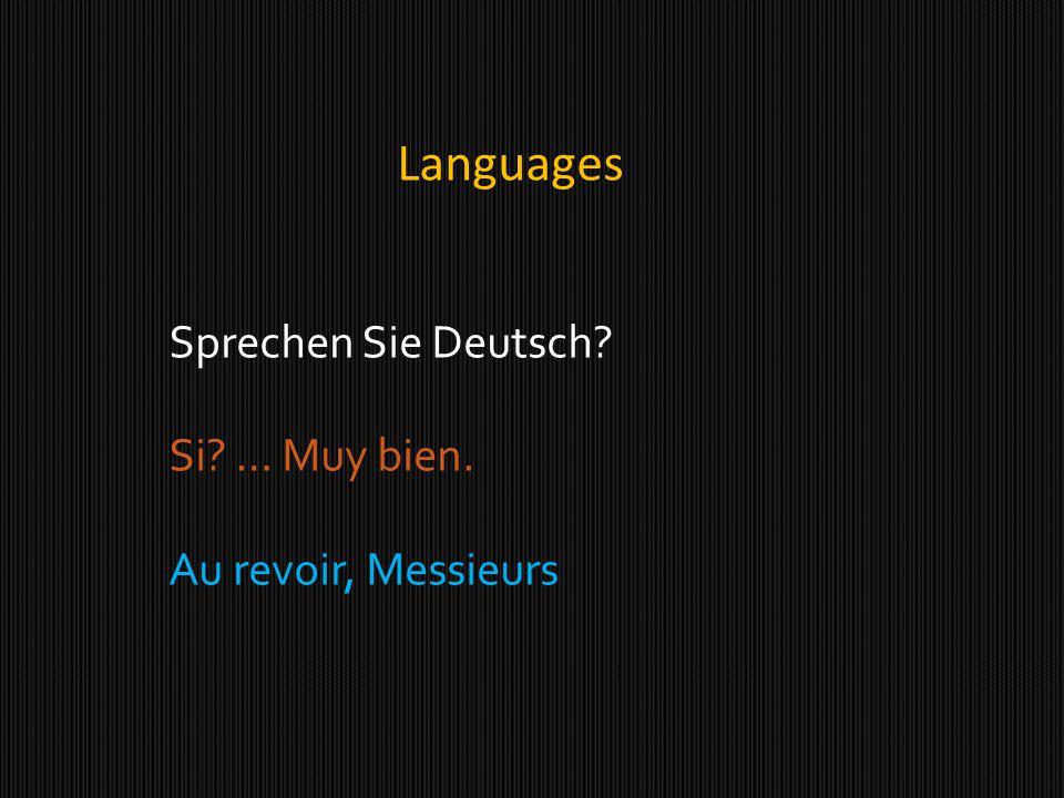 Languages Sprechen Sie Deutsch? Si? … Muy bien. Au revoir, Messieurs