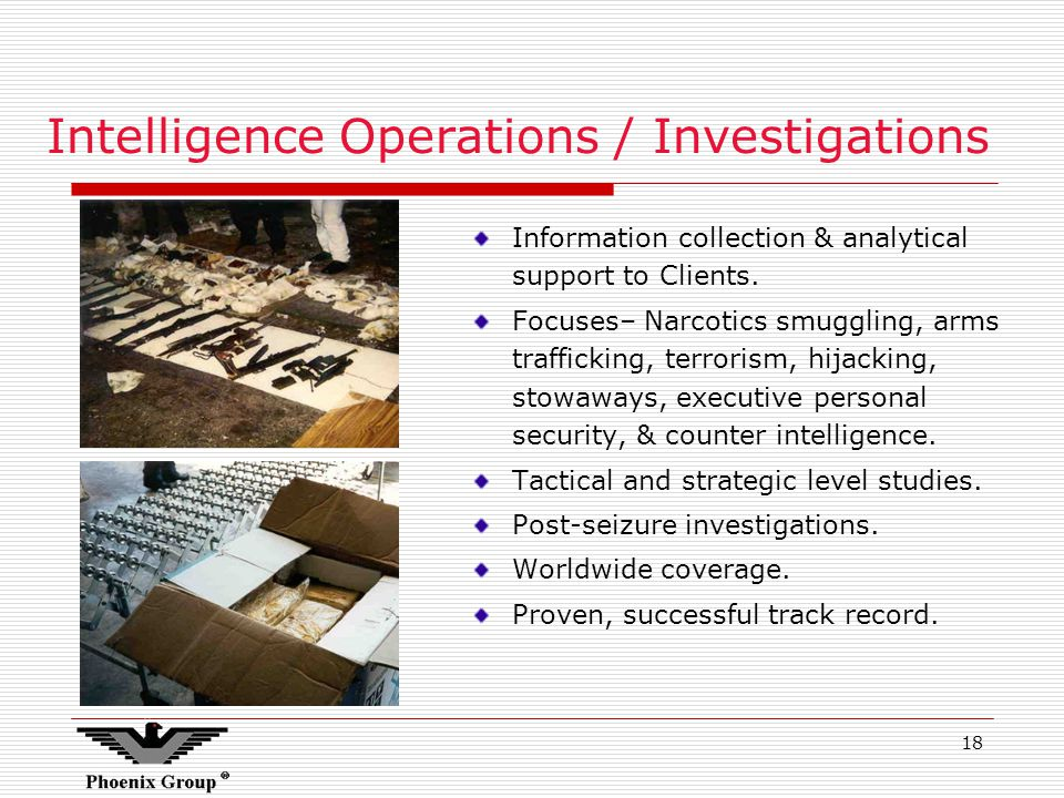 18 Intelligence Operations / Investigations Information collection & analytical support to Clients.